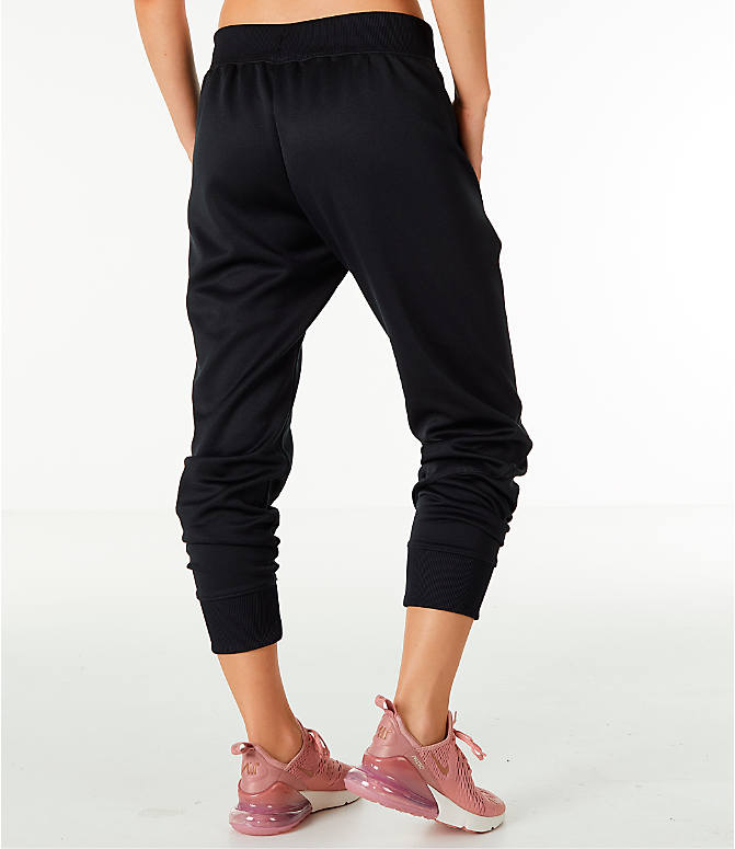 Back Right view of Women's Nike Sportswear Jogger Pants in Black/Rose Gold