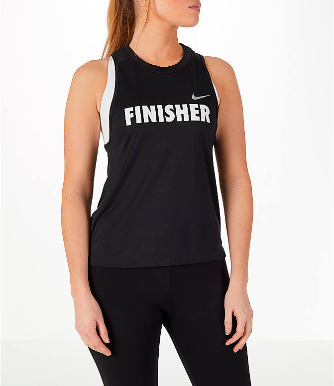Front view of Women's Nike GO LA 10K Exclusive Miler Tank in Black