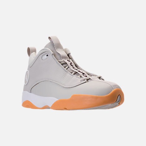 Three Quarter view of Men's Air Jordan Jumpman Pro Quick Basketball Shoes in Light Bone/White/Bordeaux/Gum Yellow