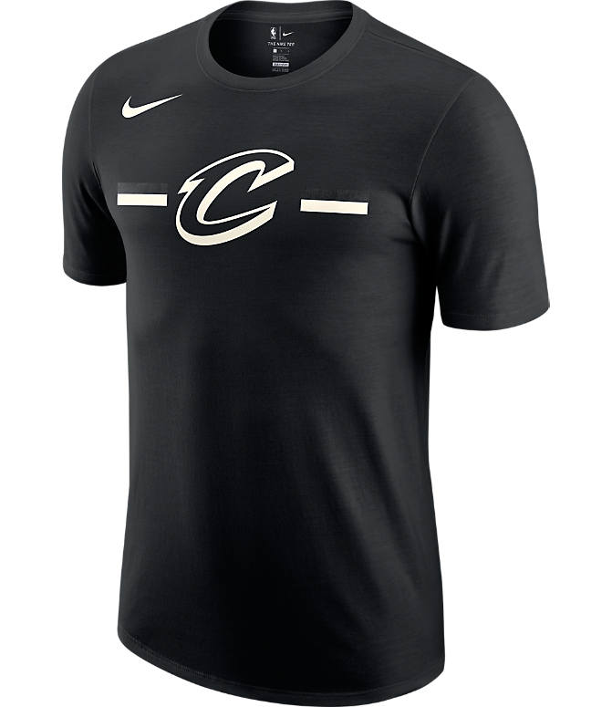 Front view of Men's Nike Cleveland Cavaliers Dri-FIT NBA Logo T-Shirt in Black