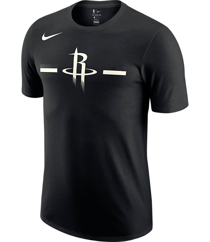Front view of Men's Nike Houston Rockets Dri-FIT NBA Logo T-Shirt in Black