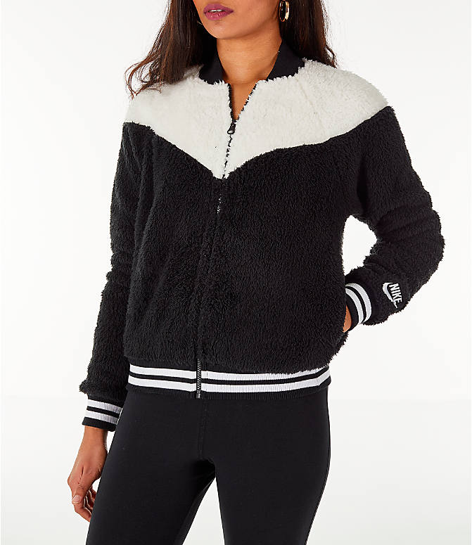 b56cd64597eb Front view of Women s Nike Sportswear Sherpa Wolf Bomber Jacket in  Black Sail
