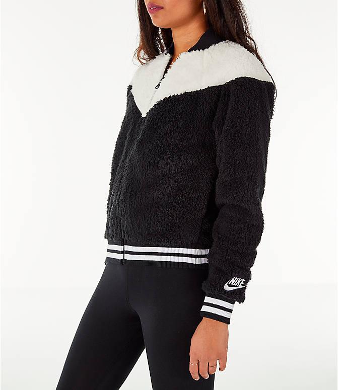 on sale 3a7dd 9c47b Front Three Quarter view of Women s Nike Sportswear Sherpa Wolf Bomber  Jacket in Black Sail