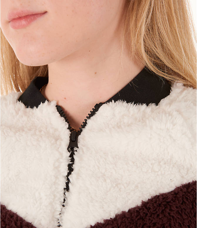 Detail 1 view of Women's Nike Sportswear Sherpa Wolf Bomber Jacket in Burgundy Crush/White