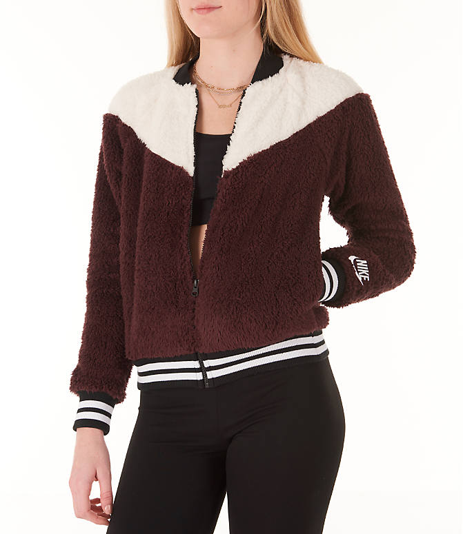 Front view of Women's Nike Sportswear Sherpa Wolf Bomber Jacket in Burgundy Crush/White