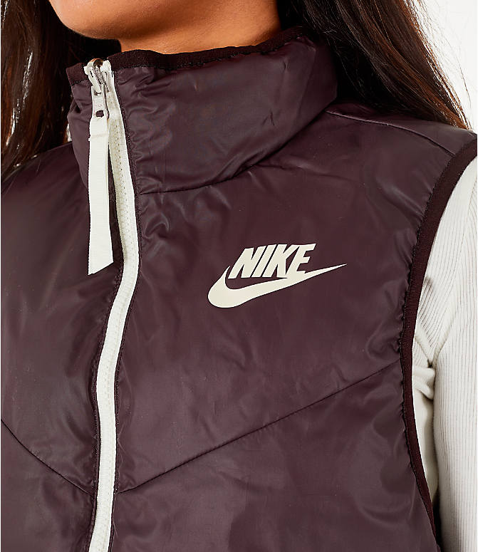 Detail 1 view of Women's Nike Sportswear Reversible Windrunner Down Vest in Desert Sand/Burgundy Ash
