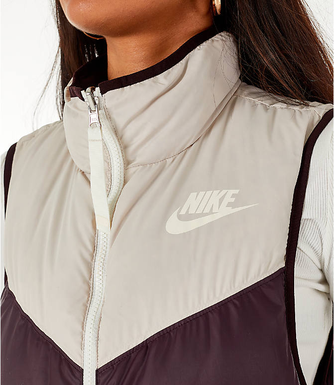 Detail 2 view of Women's Nike Sportswear Reversible Windrunner Down Vest in Desert Sand/Burgundy Ash