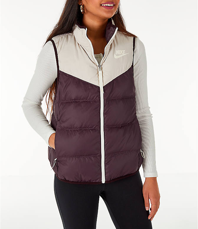 Front view of Women's Nike Sportswear Reversible Windrunner Down Vest in Desert Sand/Burgundy Ash