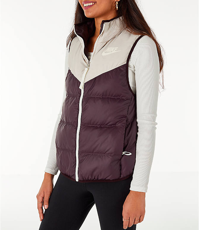 Front Three Quarter view of Women's Nike Sportswear Reversible Windrunner Down Vest in Desert Sand/Burgundy Ash