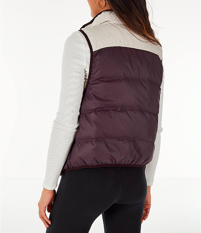 Back Left view of Women's Nike Sportswear Reversible Windrunner Down Vest in Desert Sand/Burgundy Ash