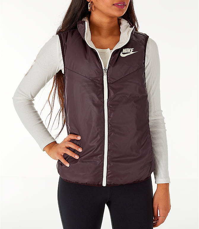 Back Right view of Women's Nike Sportswear Reversible Windrunner Down Vest in Desert Sand/Burgundy Ash