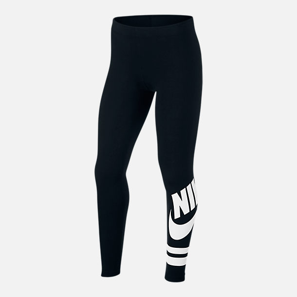 Front view of Girls' Nike Sportswear Fave Leggings in Black/White