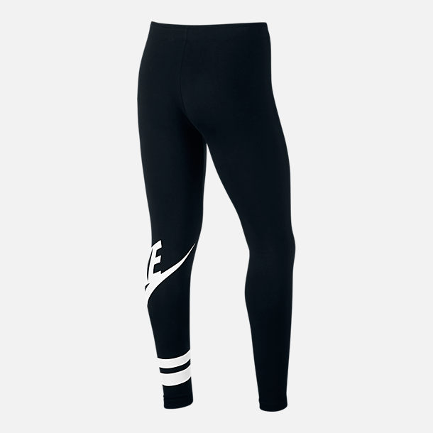 Back view of Girls' Nike Sportswear Fave Leggings in Black/White