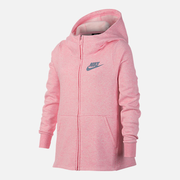 Front view of Girls' Nike Full-Zip Hoodie in Pink/Grey