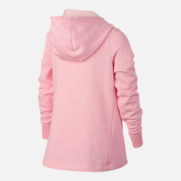 Back view of Girls' Nike Full-Zip Hoodie in Pink/Grey