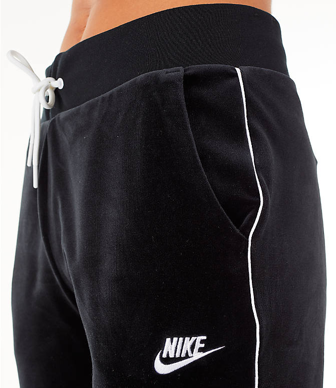 Detail 2 view of Women's Nike Sportswear Velour Jogger Pants in Black/White