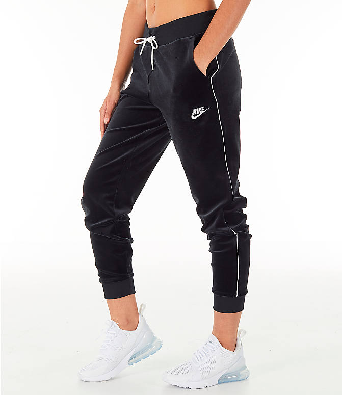 Front view of Women's Nike Sportswear Velour Jogger Pants in Black/White