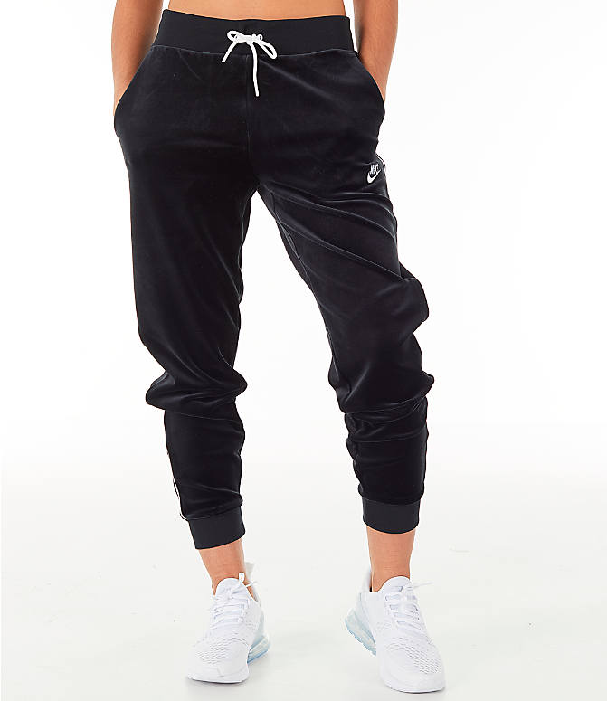 Front Three Quarter view of Women's Nike Sportswear Velour Jogger Pants in Black/White