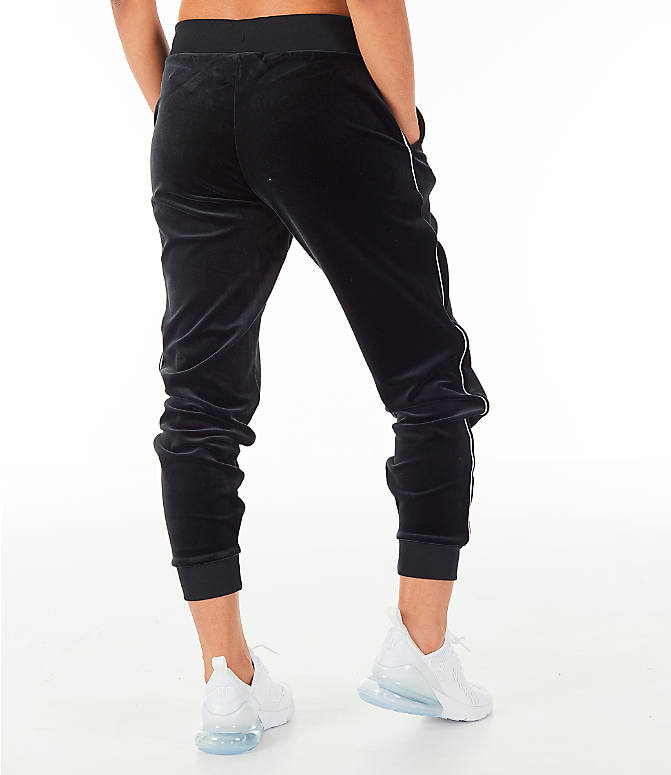 Back Right view of Women's Nike Sportswear Velour Jogger Pants in Black/White