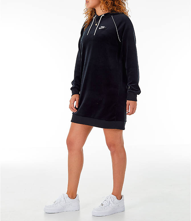 Front Three Quarter view of Women's Nike Sportswear Velour Dress in Black/White
