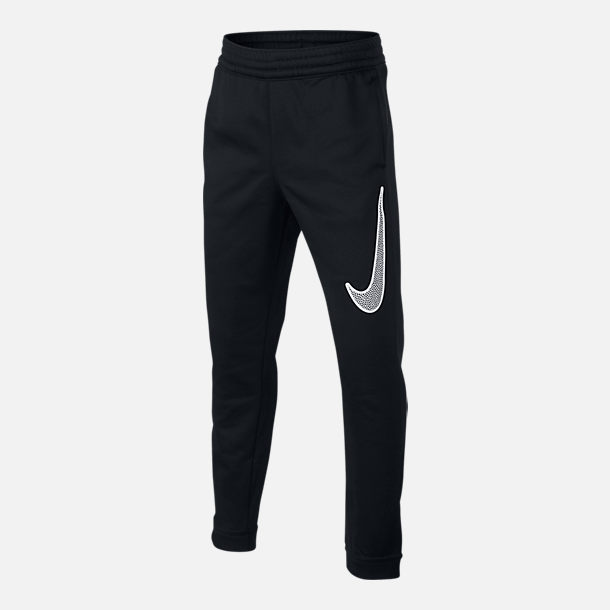 Front view of Boys  Nike Therma Basketball Pants in Black White 716500a2b