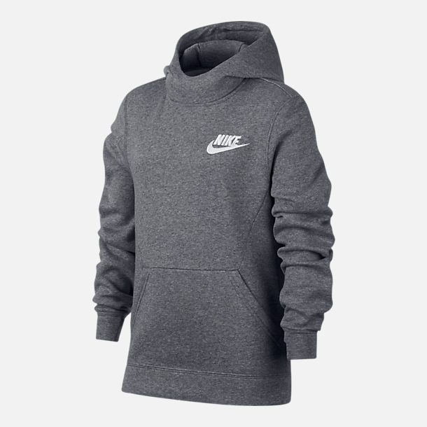 Front view of Boys' Nike Sportswear Club Pullover Hoodie in Grey/White