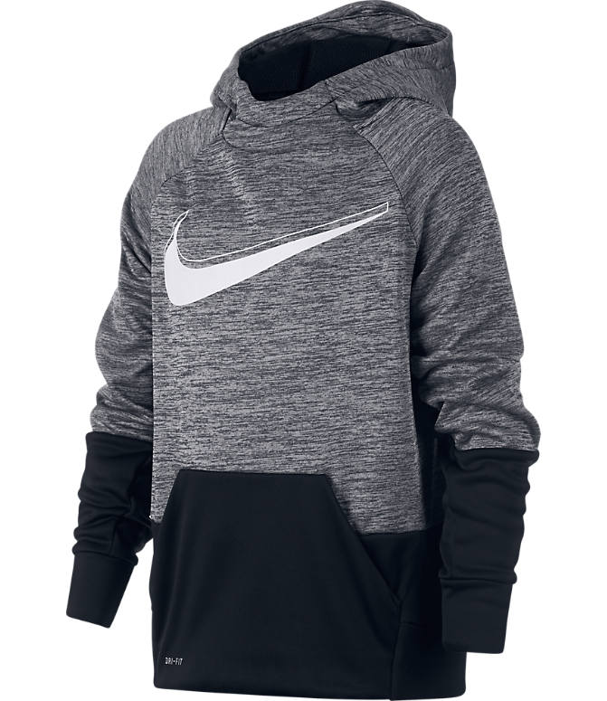c761d01eb6 Front view of Boys' Nike Graphic Training Therma Pullover Hoodie in  Black/White
