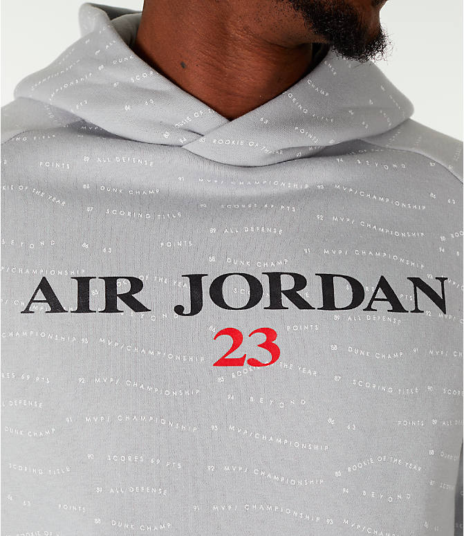 Detail 1 view of Men's Air Jordan 10 Jumpman Fleece Hoodie in Smoke Grey