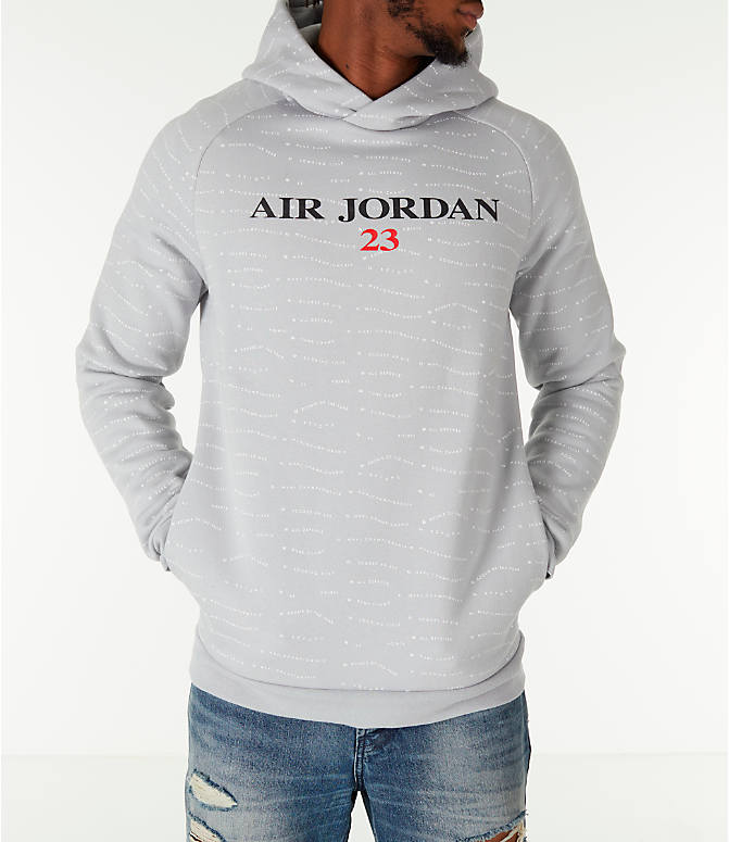 Front view of Men's Air Jordan 10 Jumpman Fleece Hoodie in Smoke Grey