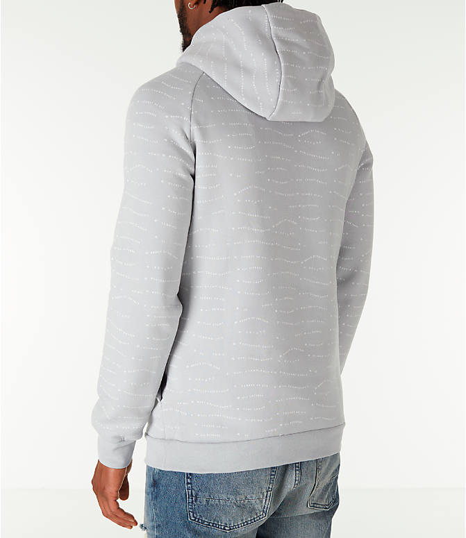 Back Left view of Men's Air Jordan 10 Jumpman Fleece Hoodie in Smoke Grey