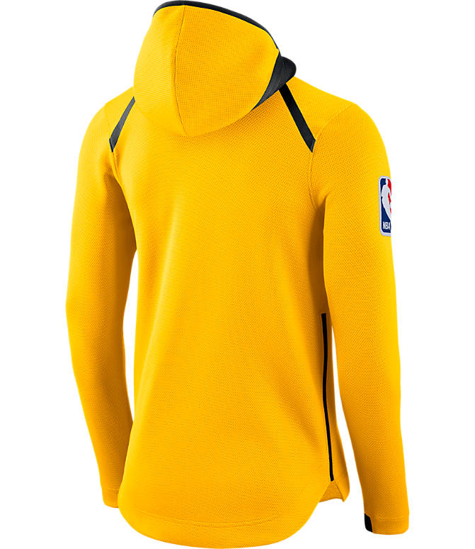 Back view of Men's Nike Denver Nuggets NBA Showtime Therma Flex Full-Zip Hoodie in Amarillo