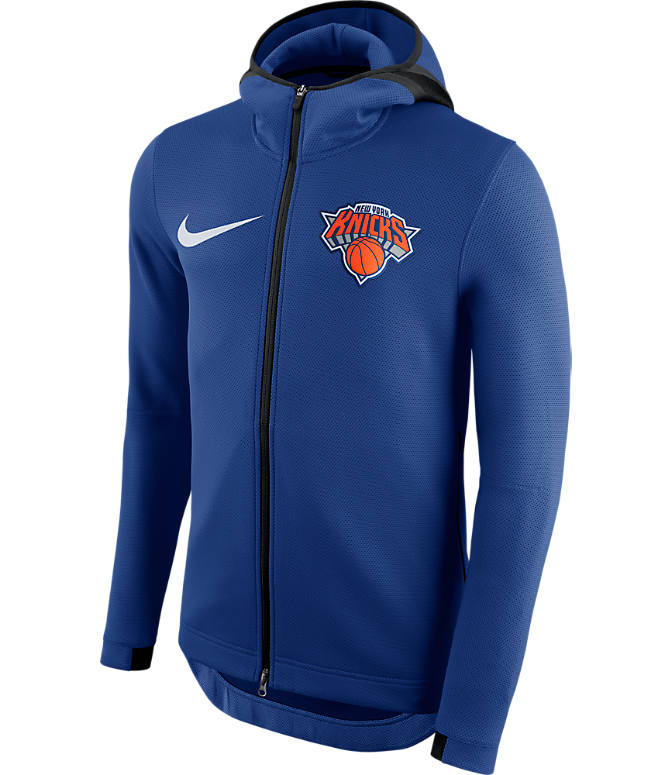 Front view of Men's Nike New York Knicks NBA Showtime Therma Flex Full-Zip Hoodie