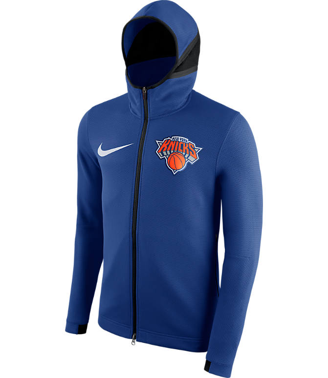 Back view of Men's Nike New York Knicks NBA Showtime Therma Flex Full-Zip Hoodie