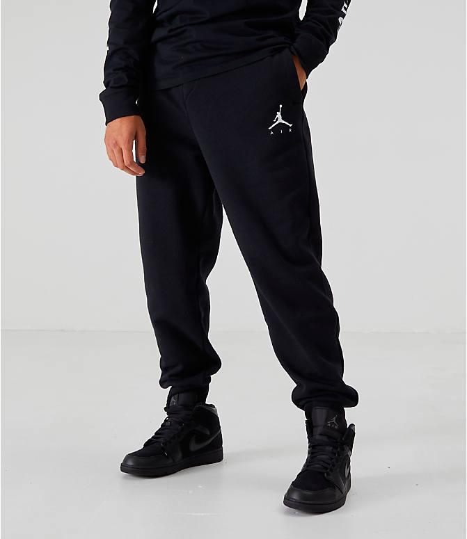2471d38a0b7 Back Left view of Men's Jordan Sportswear Jumpman Fleece Pants in Black