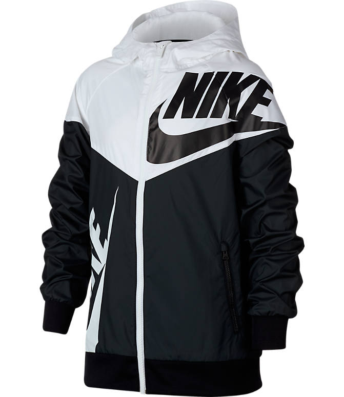 Front view of Boys' Nike Sportswear Windrunner Full-Zip Jacket in Black/White