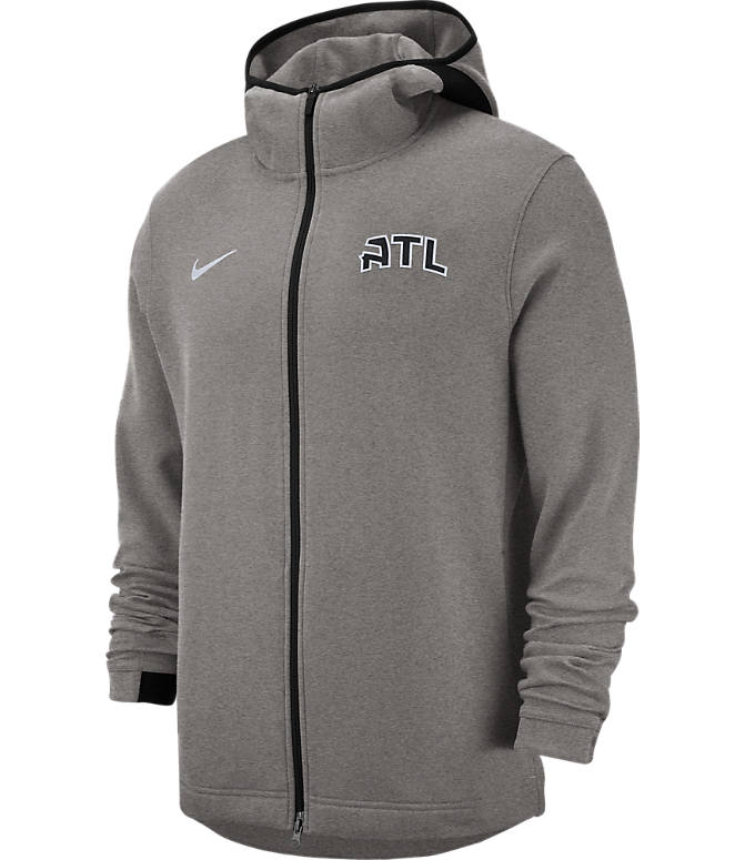 Front view of Men's Nike Atlanta Hawks NBA Dri-FIT Showtime Full-Zip Hoodie in Grey Heather