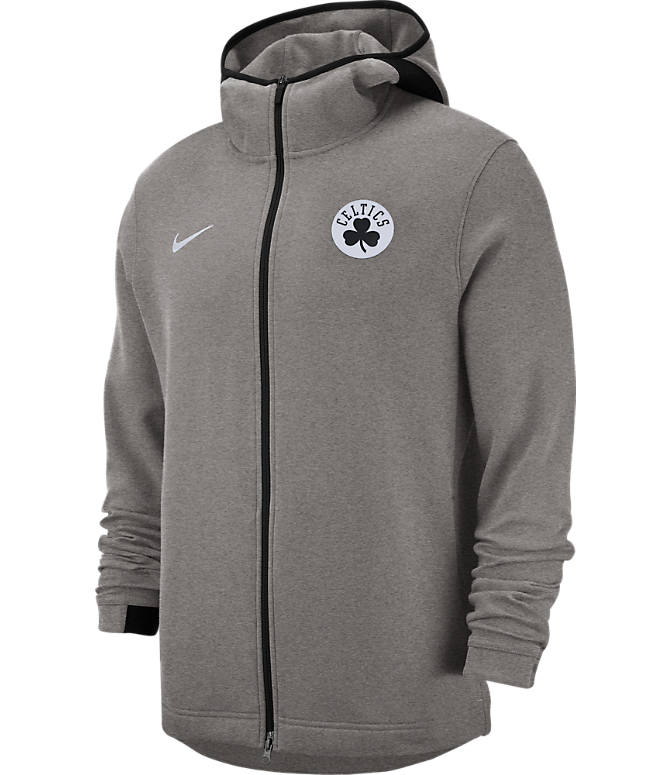 Front view of Men's Nike Boston Celtics NBA Dri-FIT Showtime Full-Zip Hoodie in Grey Heather
