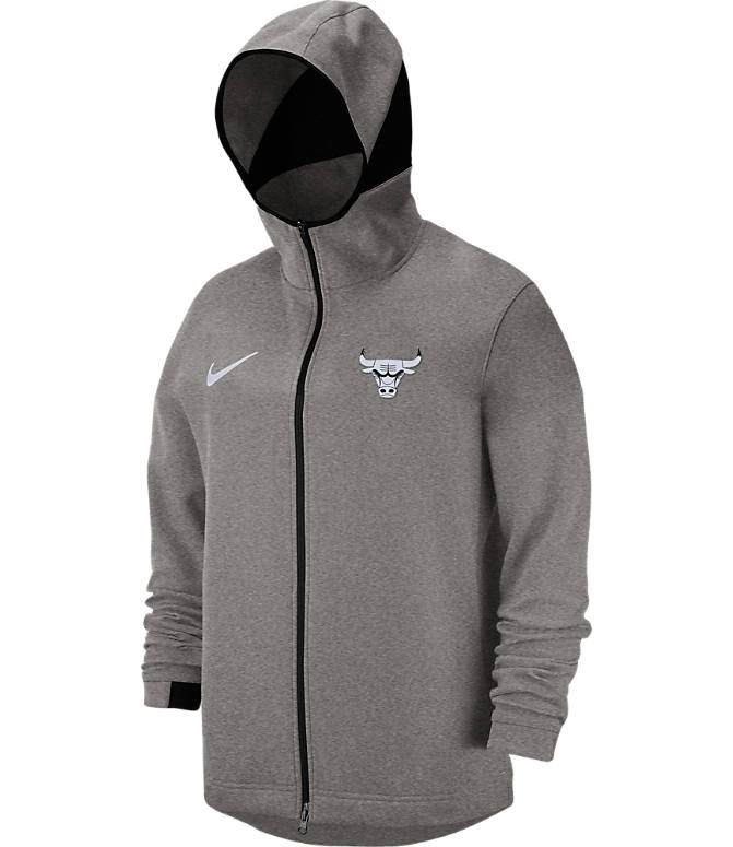 Back view of Men's Nike Chicago Bulls NBA Dri-FIT Showtime Full-Zip Hoodie in Grey Heather