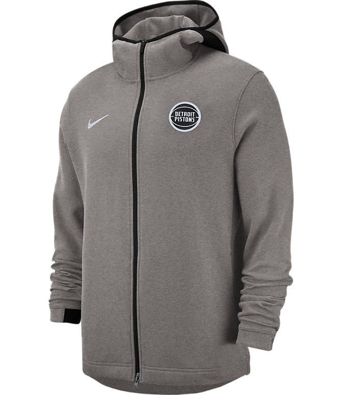 Front view of Men's Nike Detroit Pistons NBA Dri-FIT Showtime Full-Zip Hoodie in Grey Heather
