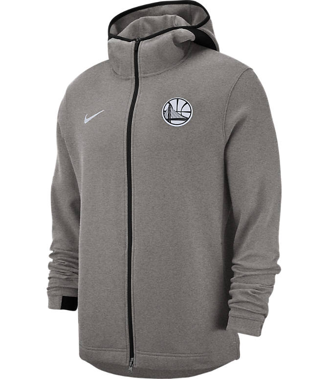 Front view of Men's Nike Golden State Warriors NBA Dri-FIT Showtime Full-Zip Hoodie in Grey Heather