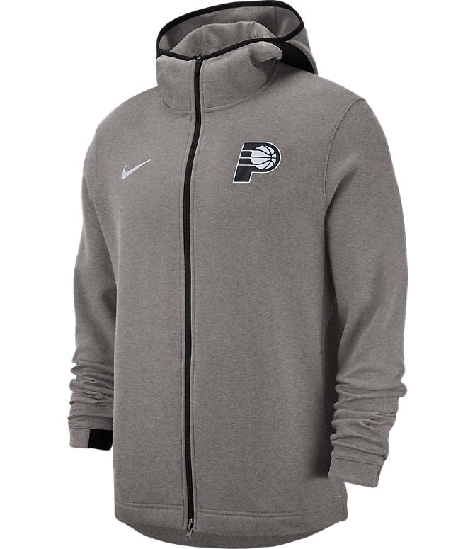 Front view of Men's Nike Indiana Pacers NBA Dri-FIT Showtime Full-Zip Hoodie in Grey Heather