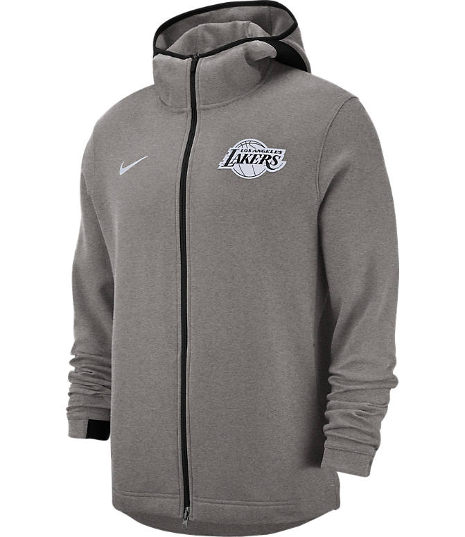 Front view of Men's Nike Los Angeles Lakers NBA Dri-FIT Showtime Full-Zip Hoodie in Grey Heather