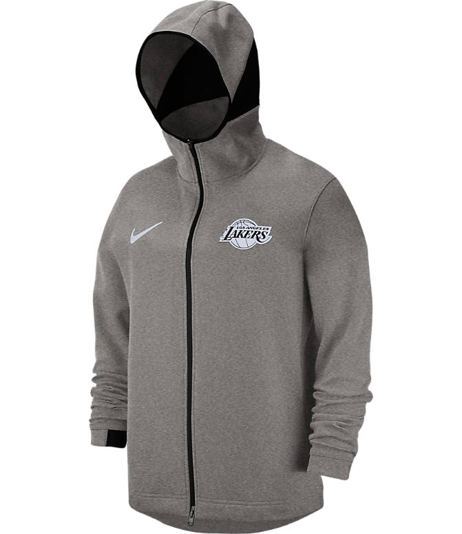 Back view of Men's Nike Los Angeles Lakers NBA Dri-FIT Showtime Full-Zip Hoodie in Grey Heather