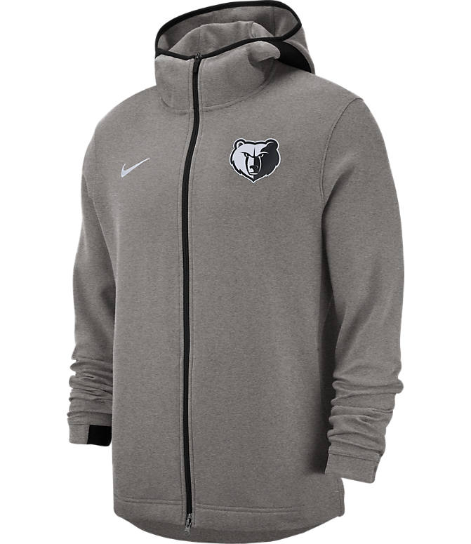 Front view of Men's Nike Memphis Grizzlies NBA Dri-FIT Showtime Full-Zip Hoodie in Grey Heather