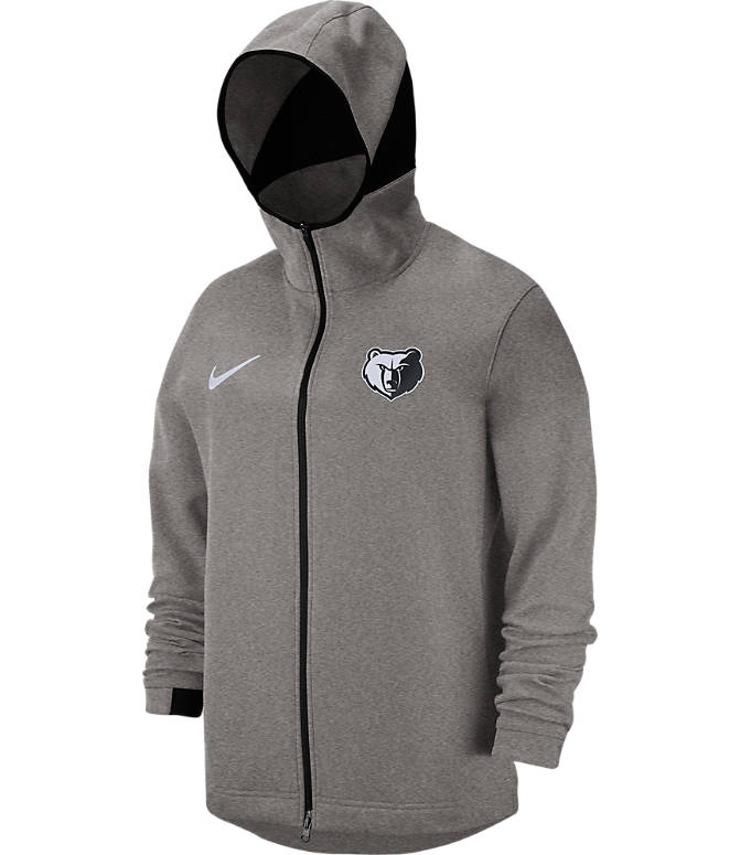 Back view of Men's Nike Memphis Grizzlies NBA Dri-FIT Showtime Full-Zip Hoodie in Grey Heather