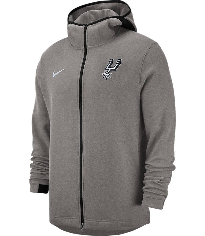 Front view of Men's Nike San Antonio Spurs NBA Dri-FIT Showtime Full-Zip Hoodie in Grey Heather
