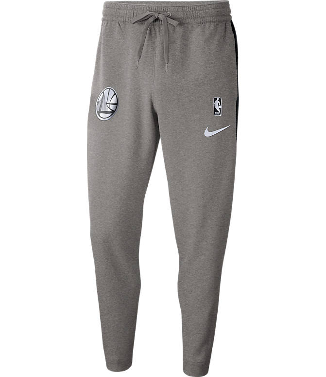 Front view of Men's Nike Golden State Warriors NBA Dri-FIT Showtime Pants in Dark Grey Heather