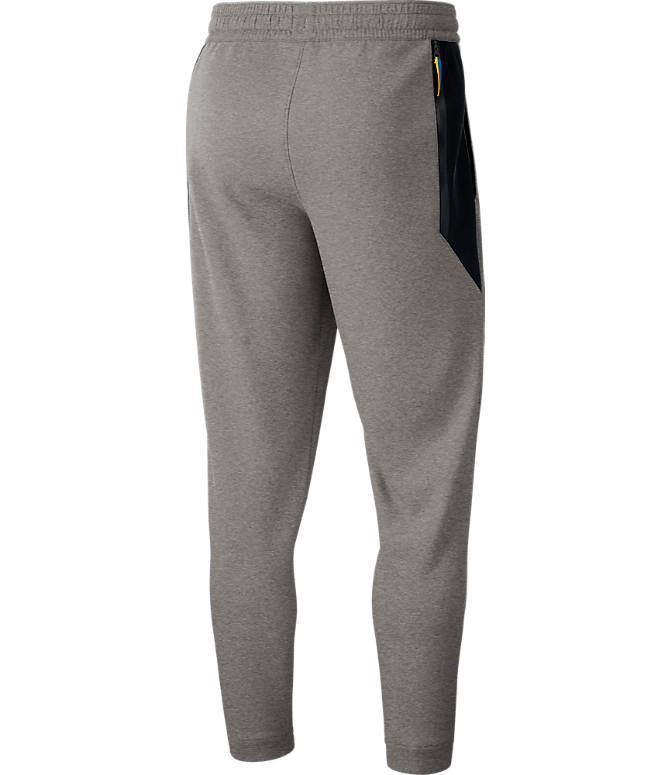 Back view of Men's Nike Golden State Warriors NBA Dri-FIT Showtime Pants in Dark Grey Heather