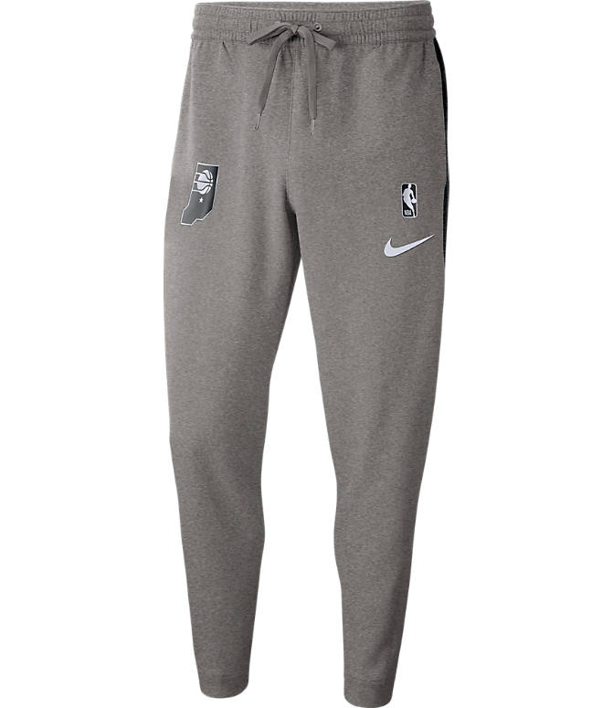 Front view of Men's Nike Indiana Pacers NBA Dri-FIT Showtime Pants in Dark Grey Heather