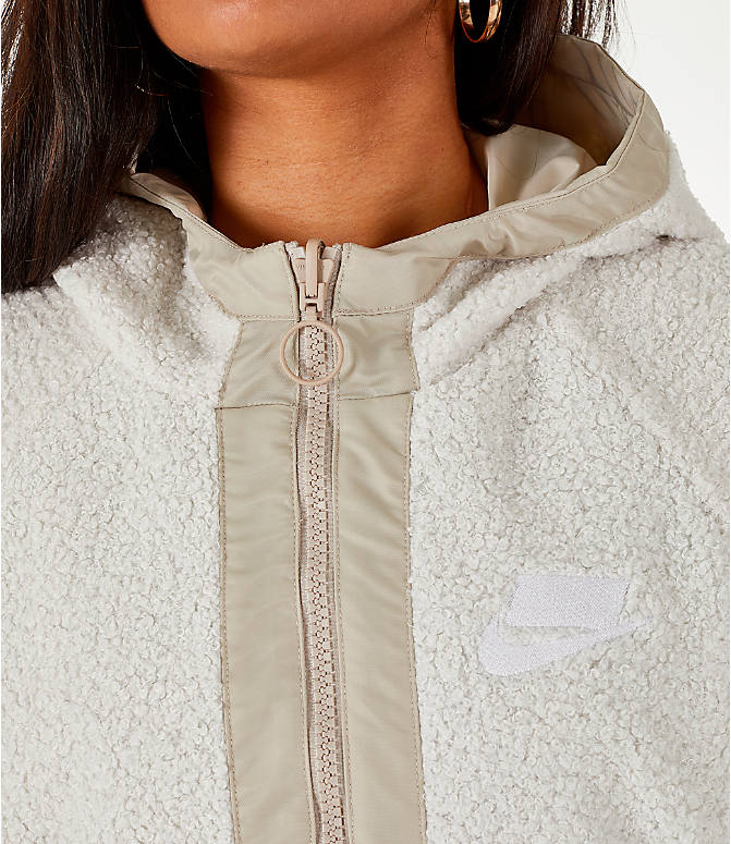Detail 2 view of Women's Nike Sportswear Reversible Sherpa Full-Zip Jacket in Phantom White